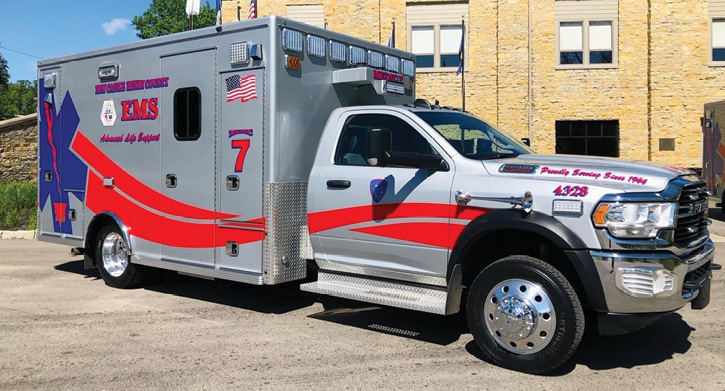 This New Castle (IN) EMS ambulance carries an assortment of FRC Spectra 950 LED perimeter lights and FRC Spectra 900 LED flood and loading lights.