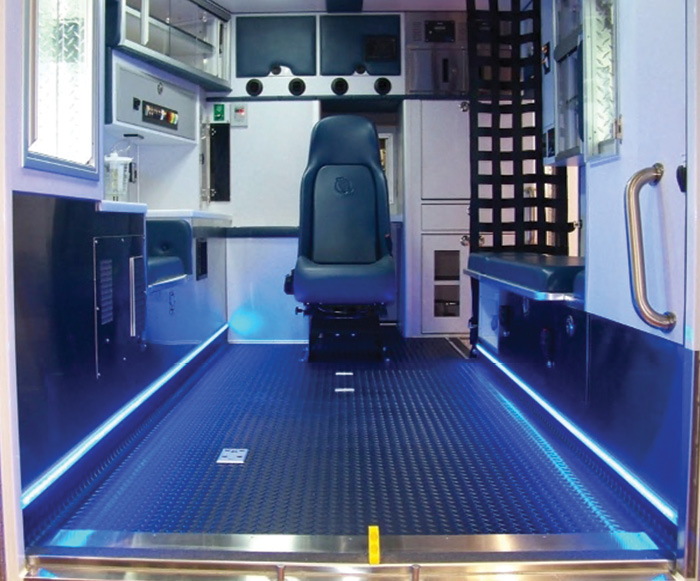 Innomotive Solutions Group's Amdor makes the Luma Bar lighting product line, shown in the back of this ambulance providing blue strip lighting.