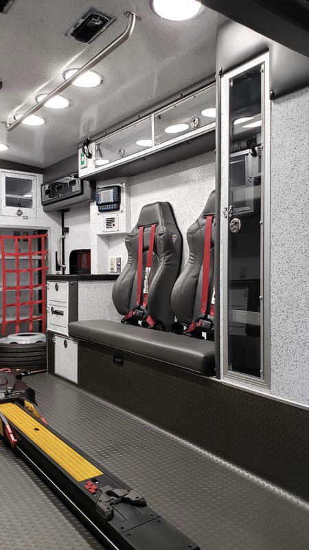 Braun Industries built this ambulance's squad bench area with double squad bench backs made by United Safety & Survivability Corporation.