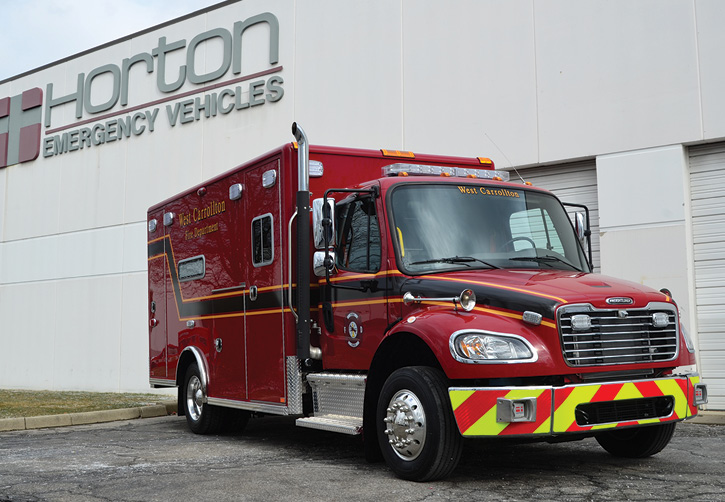 Horton Ambulance built this Type 1 rig for the West Carrollton (OH) Fire Department on a Freightliner M2-174 medium-duty chassis and a Horton 623 style patient module.