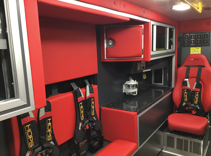 The CPR seat on the street side of the patient box was increased to 48 inches wide and fitted with two four-point harnesses.