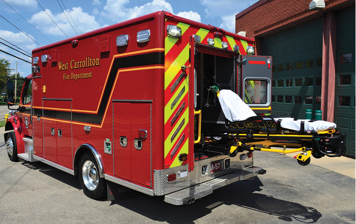The ambulance carries a Stryker Power Load cot system.