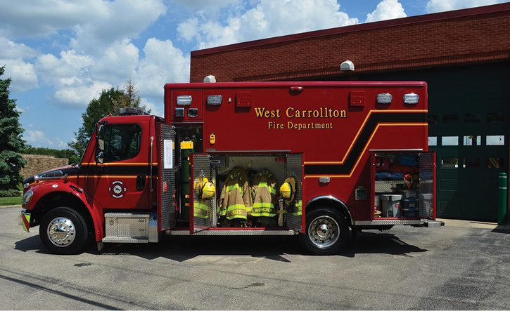 Horton reconfigured storage spaces on the ambulance for turnout gear, SCBA, and hand tools in the L2 compartment.