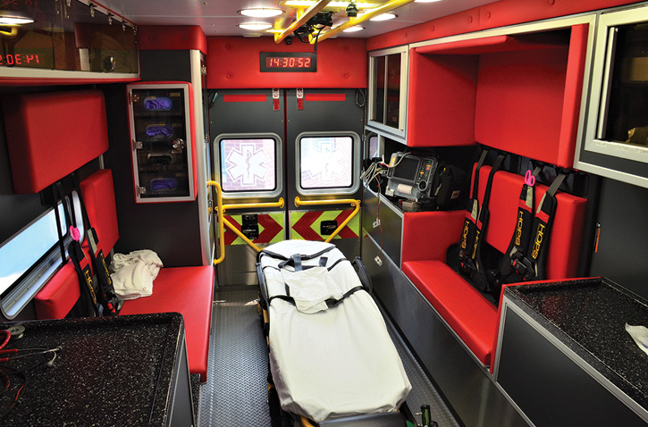 The interior of the patient module looking toward the rear from the attendant's seat.