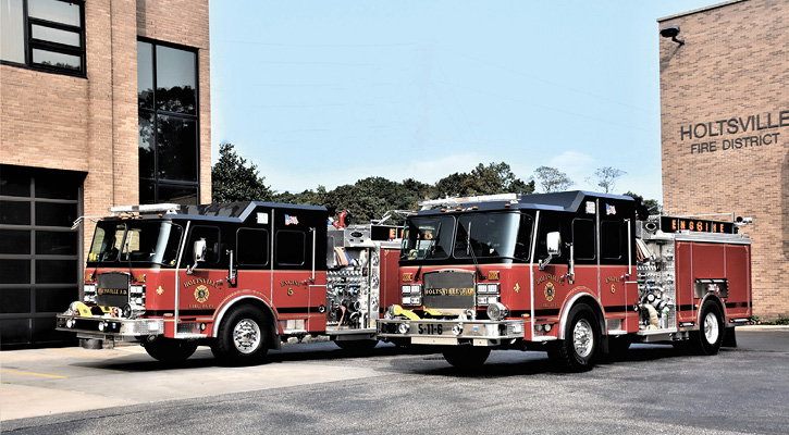 The Holtsville Fire Department's twin E-ONE Typhoon pumpers.