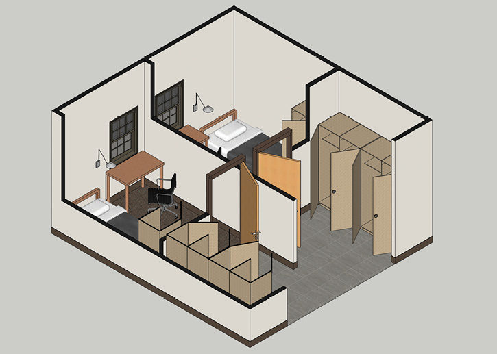 This rendering shows Mitchell Associates Architects' design of a gender-neutral bunk room with a single-use locker in the room and lockers for all shifts immediately outside.