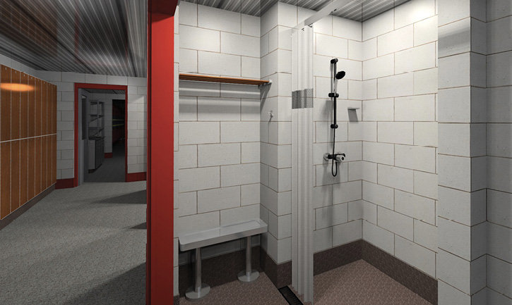 A decon area, a shower, clean clothes lockers, and a turnout gear area in a fire station designed by Mitchell Associates Architects.