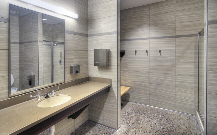 This gender-neutral private bathroom/shower was designed by Perlman Architects of Arizona Inc.