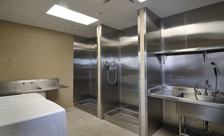 A decon shower area off an apparatus bay in an Arizona fire station designed by Perlman Architects of Arizona.