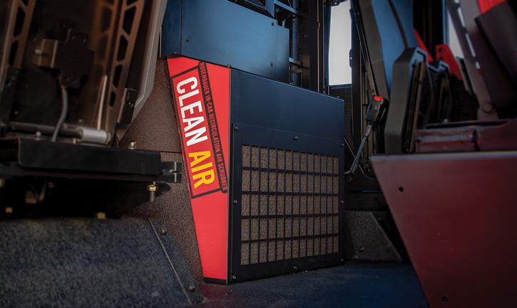 Rosenbauer developed the CleanAir™ recirculation air scrubber system in conjunction with the University of Minnesota as part of its efforts to provide clean cab technology on fire apparatus.