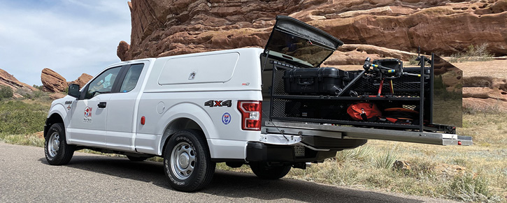 West Metro (CO) Fire Rescue carries its two unmanned aerial vehicles (UAVs) on a slide-out tray in the bed of a Ford F-150 pickup truck to be able to deploy them quickly.