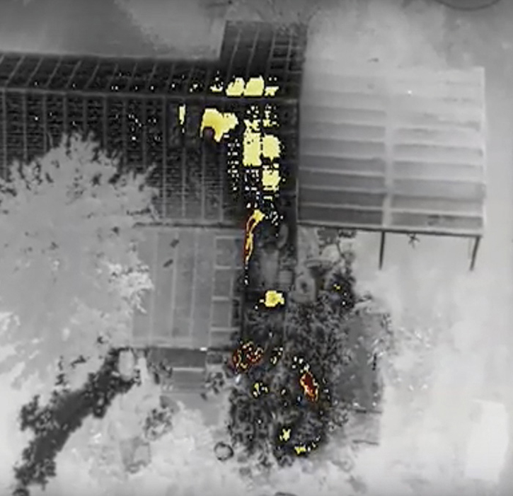 A DJI UAV is used in this instance to determine the roof integrity of this fire structure.