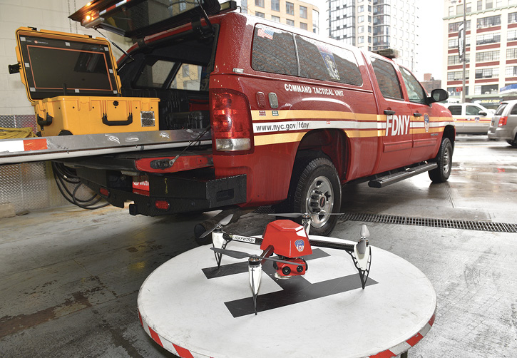 The Fire Department of New York carries both tethered and untethered UAVs in a Command Tactical Unit (CTU-1), a GMC quad cab pickup truck with a cap and slide-out tray on the back.
