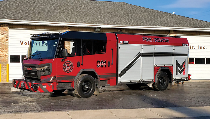 Rosenbauer built this rescue-pumper on an Avenger chassis and cab with an 11-inch raised roof, a Rosenbauer stainless steel N Series 1,500-gpm pump, a 750-gallon water tank, a 30-gallon foam cell, and a FoamPro Pneumax Model 200-P CAFSystem™ Class A foam system.
