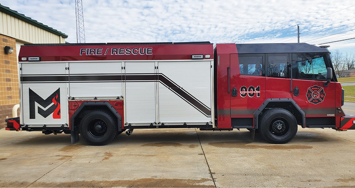 The rescue-pumper is powered by a 450-horsepower Cummins L9 diesel engine and an Allison 3000 EVS automatic transmission.