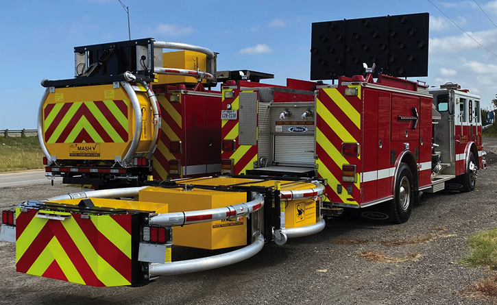 The Grand Prairie (TX) Fire Department has two apparatus in service fitted with TMAs. The devices, typically installed on highway construction and road crew vehicles, are designed to absorb energy from a vehicle impact and deflect the wayward motorist away from responders who may be in the road.