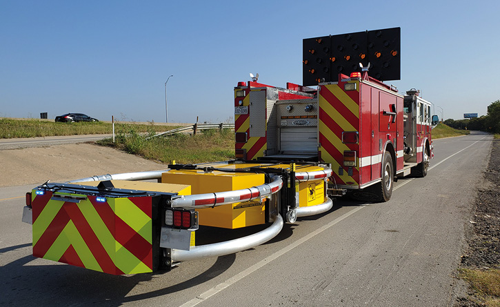 The TMAs mounted on Grand Prairie's blocking apparatus are able to handle an impact of a vehicle traveling at speeds up to 62.5 mph, absorbing the energy while protecting the passengers in the striking vehicle and the responders who may be working in front of the blocking vehicle.