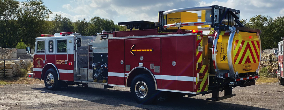 As blocking vehicles, Grand Prairie's TMA apparatus have extra warning lights, arrow board, LED signs, and LED traffic directional arrows on each side of the vehicles.