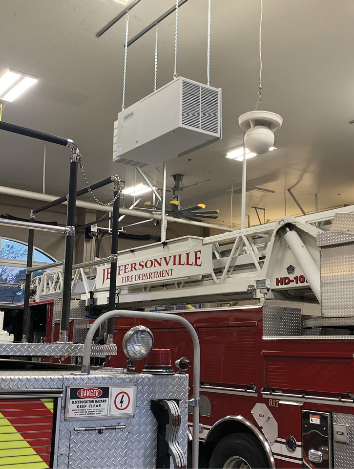 Air Technology Solutions installed this AirMATION ceiling-hung multi-filter air filtration system in this Jeffersonville (IN) Fire Department station.