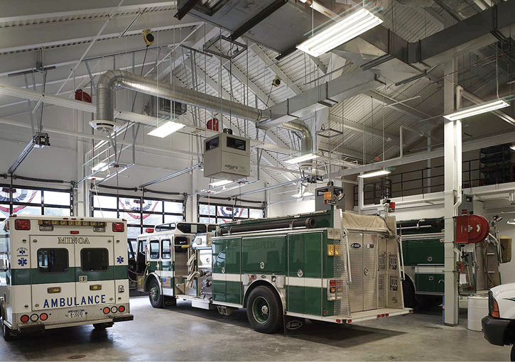 The Minoa (NY) Fire Department chose Air Vacuum Corporation's AIRVAC 911 engine exhaust system for its apparatus bays.