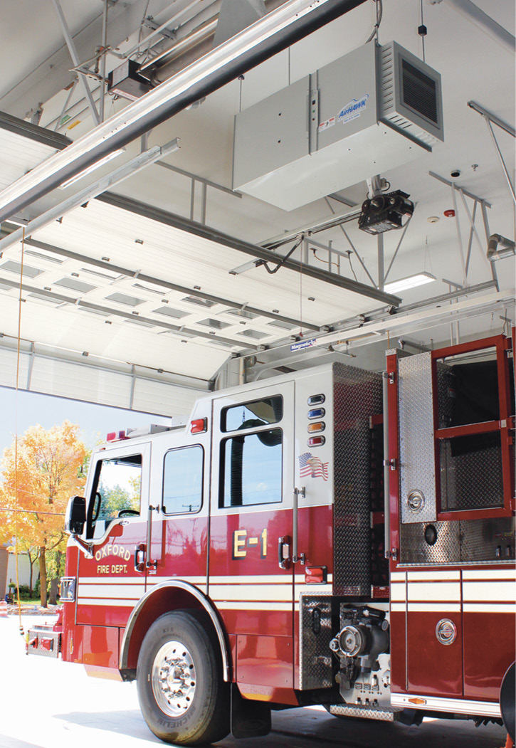The Oxford (MI) Fire Department had MagneGrip Group install an AirHAWK 3000 LX ceiling-mounted filtration unit in its station.