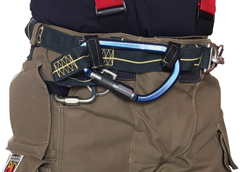 Fire-Dex makes the I2H Integrated Class II harness in its FXR model turnout gear, which can be connected to a personal escape system.