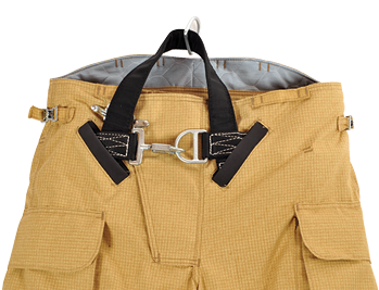 Veridian integrates both Fire Innovations and RIT Safety Solutions harness systems in its turnout pants, both in internal and external fashions.