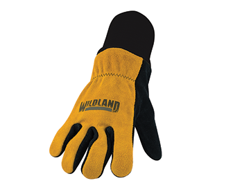 In addition to its line of structural firefighting gloves, Veridian also makes a wildland firefighting glove with a black leather palm, gold leather back, and double-layer knit Kevlar wristlet.