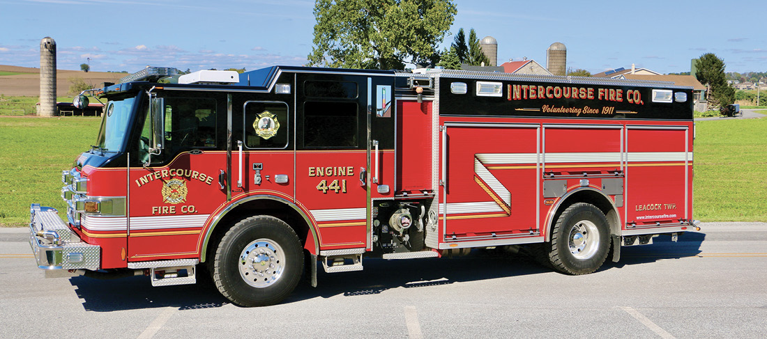Engine 441 is a 2011 Pierce Impel PUC pumper with an eight-person cab, 10-inch raised roof, 1,500-gpm pump, and 1,000-gallon tank.