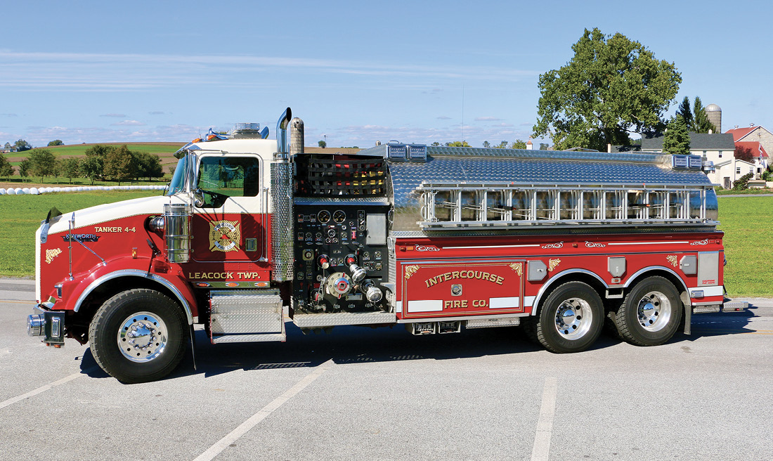 Tanker 44 is built on a 1997 Kenworth cab and chassis with New Lexington body and tank. It carries 3,750 gallons of water and features a Darley 1,750-gpm pump.
