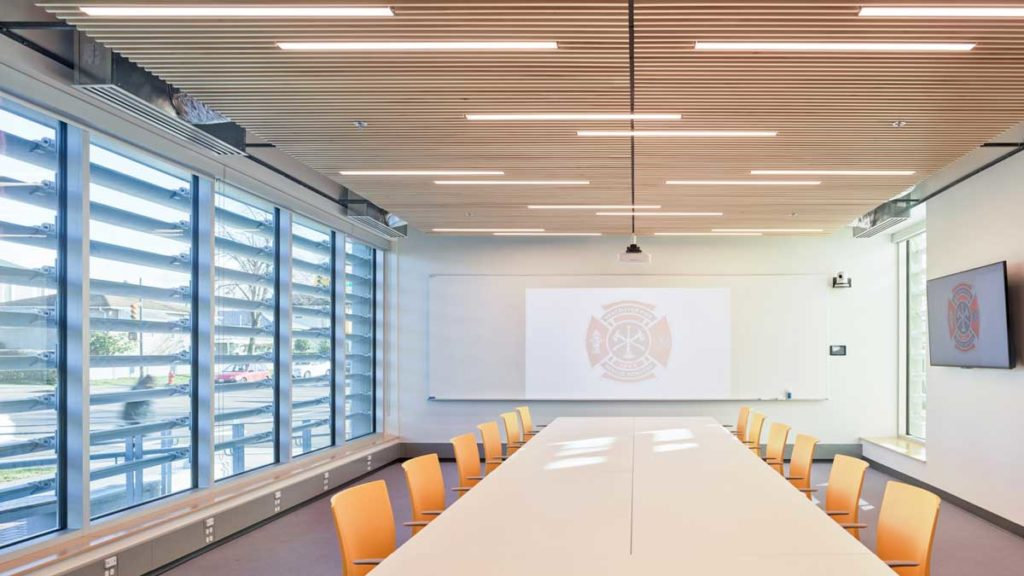 Conference room inside Vancouver fire station