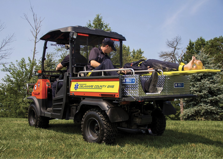 Kimtek Corp. built this MEDLITE Transport unit that Delaware County (OH) EMS mounted in the bed of its UTV.