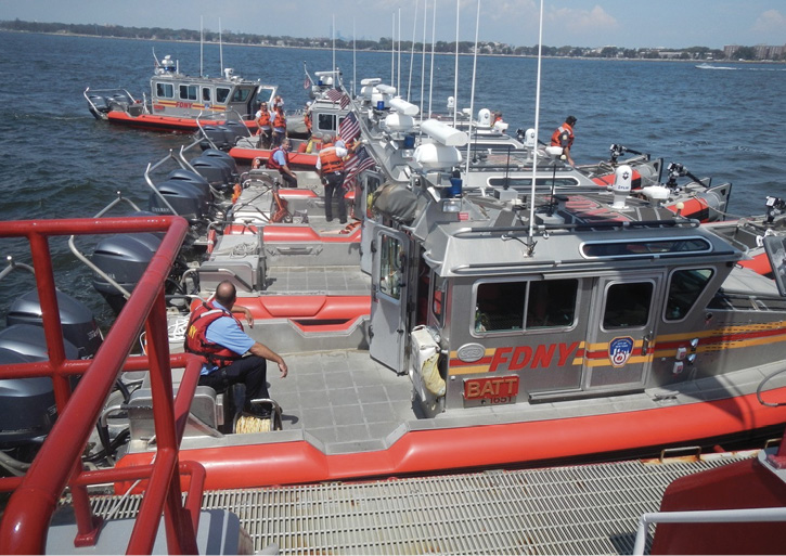 FDNY operates three main marine companies based in Manhattan, Staten Island, and Brooklyn that include 33-foot and 31-foot Safe Boats that function in a triple role as fire/rescue/EMS craft.