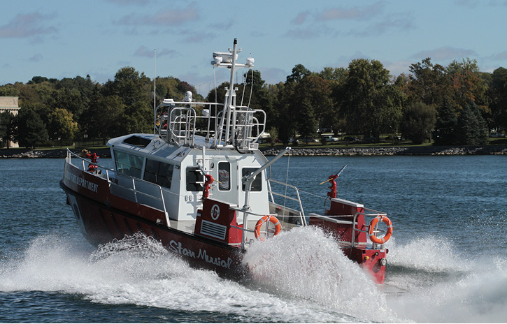 St. Louis operates the Stan Musial, a 42-foot MetalCraft Marine fire/rescue boat (shown) and also a 27-foot Safe Boat for fire/rescue work.