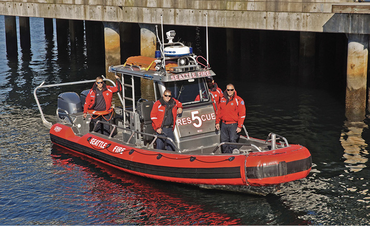 In addition to two large fireboats and two 50-footers, Seattle also operates Rescue 5, a 25-foot RIB that's outfitted with FLIR, floating backboards, throw bags, and PFDs.