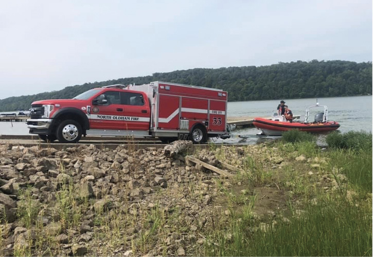 orth Oldham launches its RIBCRAFT 5.95 19-foot RIB into the Ohio River, heading out on a rescue call.