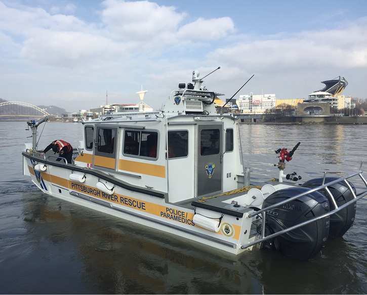 Lake Assault Boats built this 30-foot rescue boat with an enclosed wheelhouse for the Pittsburgh (PA) Fire Department.