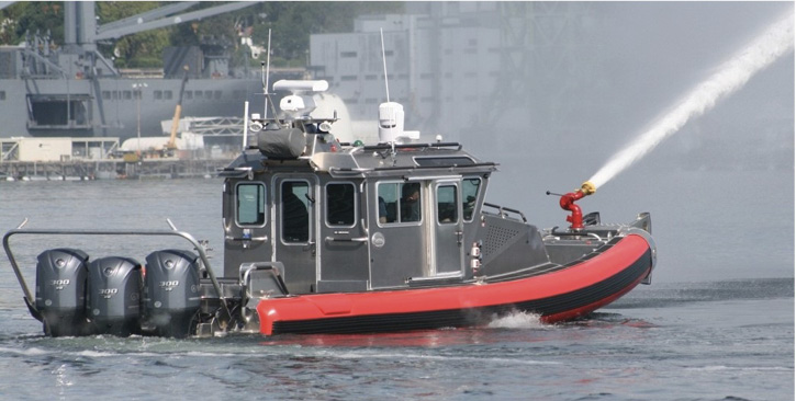 The 33-foot enclosed wheelhouse Safe Boat is a popular choice among fire departments for a combination fire/rescue craft.
