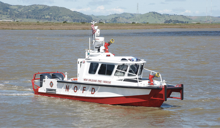 Moose Boats Inc. built this 36-foot M3 monohull fire/rescue boat for New Orleans (LA) Fire Rescue.