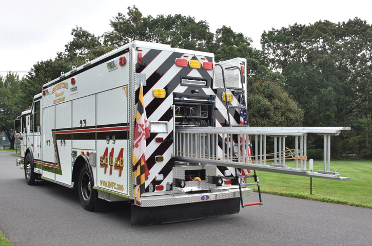 Because of a shortage of truck companies in the area, Reisterstown had Rescue 1 include a truck company complement of ground ladders in an enclosed compartment accessed from the rear of the vehicle.