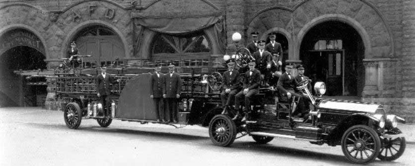 Asheville Fire Department's first motorized tractor drawn aerial