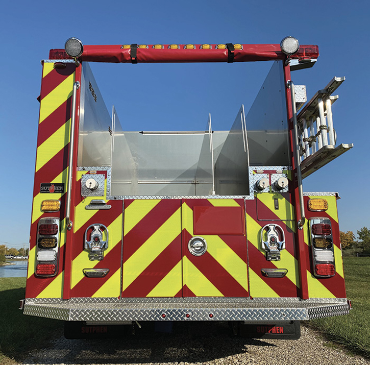 Sutphen Corp. built this pumper with a low hosebed, four divided sections, and three rear discharges for DeKalb County (GA) Fire Rescue.