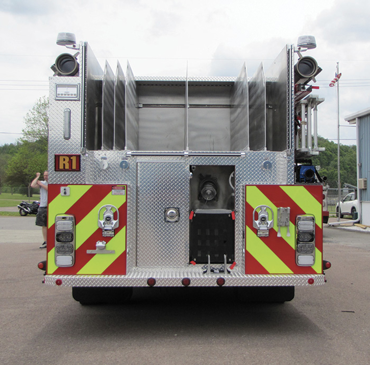The hosebed on a 4 Guys Fire Trucks pumper built for the Hagerstown (MD) Fire Department has seven divided compartments for handlines and LDH.