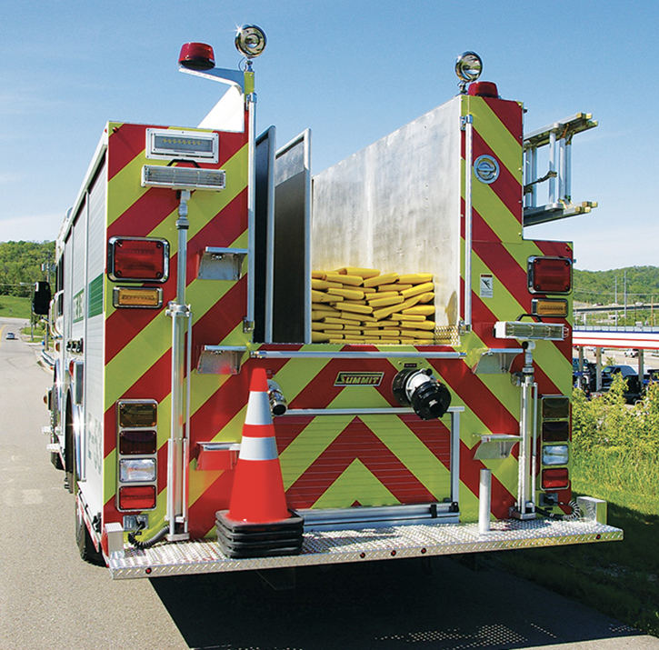 Summit Fire Apparatus built this low-hosebed pumper with three divided hose spaces for the Green Township (OH) Fire Department.