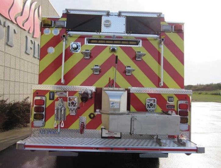 Midwest Fire built this pumper with a split hosebed around a center compartment