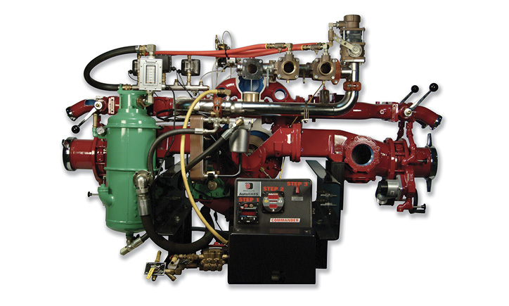 W.S. Darley & Co. makes several CAFS for use on fire apparatus, including this LDMBC unit with a single-stage pump running off a midship split shaft and a 220-cfm compressor.