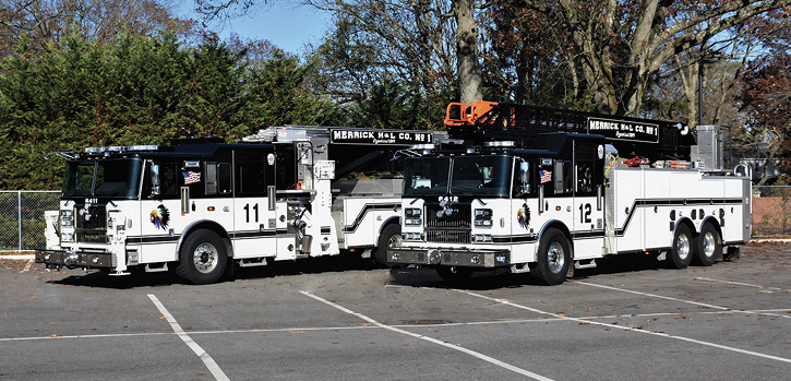 Merrick's Seagrave aerials: a 100-foot rear mount and a 95-foot Aerialscope.