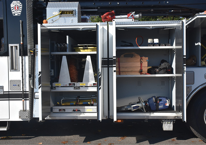 Two compartments on the rear-mount hold battery-powered eDraulic rescue tools, shoring, hooks, a stokes basket, and spare batteries.