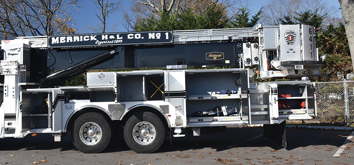 Driver's side compartments on the tower also have eDraulic cutters and spreaders as well as air bags and will carry forcible entry tools, fans, and a normal complement of truck company tools when fully loaded.