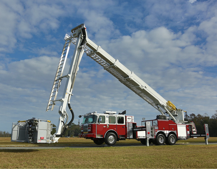 E-ONE built this Bronto Skylift 135RLX articulating platform aerial that has a vertical height of 135 feet and a horizontal reach of up to 88 feet with 500 pounds in the bucket.